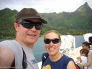 Ferry to Moorea, French Polynesia on our Honeymoon