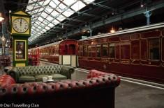 Cafe on platform, York train museum England